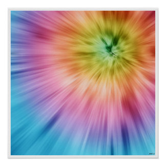 Colorful Starburst Tie Dye Poster