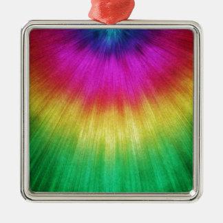 Colorful Starburst Tie Dye Silver-Colored Square Ornament
