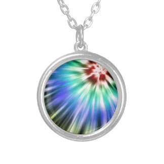 Colorful Starburst Tie Dye Silver Plated Necklace