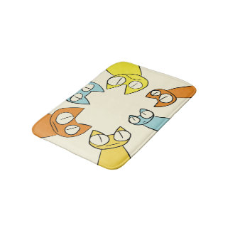Colorful Staring lot Cats Bath Mat