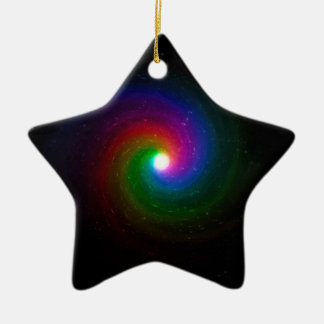 Colorful Stars Swirling Towards a Bright Center Ceramic Ornament