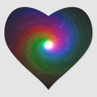 Colorful Stars Swirling Towards a Bright Center Heart Sticker