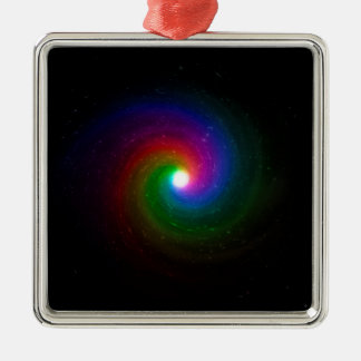 Colorful Stars Swirling Towards a Bright Center Metal Ornament