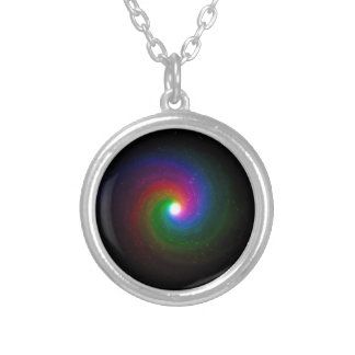 Colorful Stars Swirling Towards a Bright Center Silver Plated Necklace