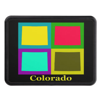 Colorful State Of Colorado Pop Art Map Tow Hitch Cover