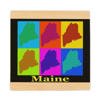Colorful State of Maine Pop Art Map Wood Coaster