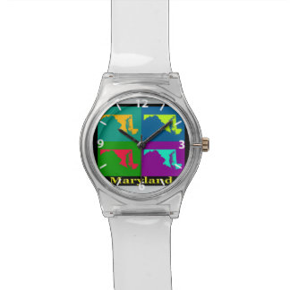 Colorful State of  Maryland Pop Art Map Wristwatches