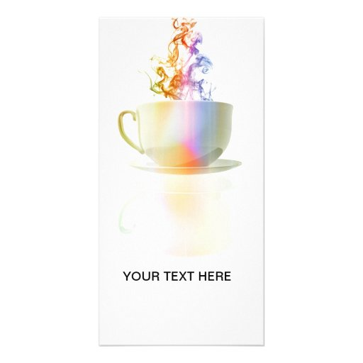 Colorful steaming coffee cup photo greeting card