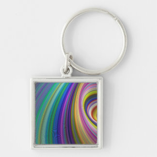 Colorful storm Silver-Colored square keychain