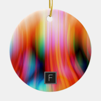 Colorful Streaked Abstract Monogram   Ornament