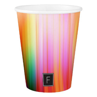 Colorful Streaked Abstract Monogram | Paper Cups