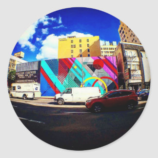 Colorful Street Art Classic Round Sticker