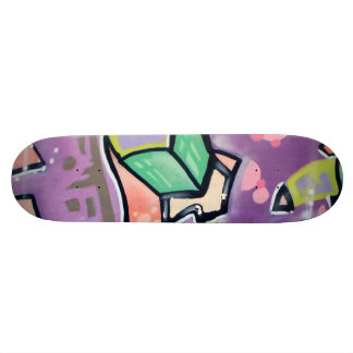 Colorful Street Art Purple Skate Deck