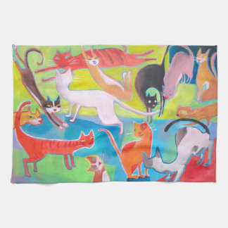 colorful street cats art kitchen towel