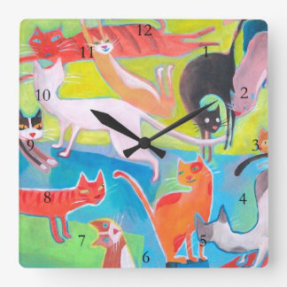 colorful street cats square wall clock