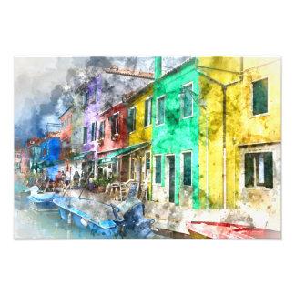 Colorful street in Burano near Venice Italy Art Photo