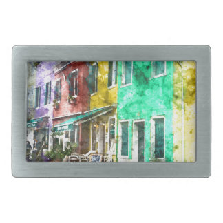 Colorful street in Burano near Venice Italy Belt Buckle