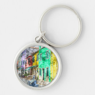 Colorful street in Burano near Venice Italy Silver-Colored Round Keychain
