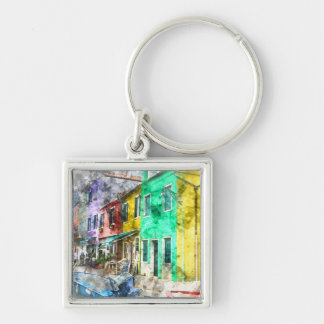 Colorful street in Burano near Venice Italy Silver-Colored Square Keychain