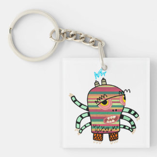 Colorful Striped Cartoon Monster with Six Arms Double-Sided Square Acrylic Keychain