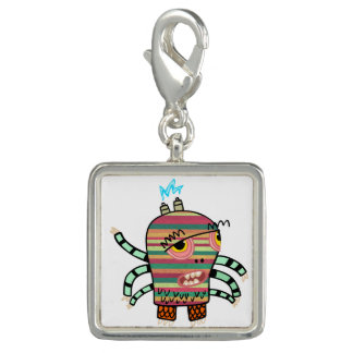 Colorful Striped Cartoon Monster with Six Arms Photo Charms