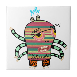 Colorful Striped Cartoon Monster with Six Arms Tile