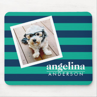 Colorful Striped Pattern Custom Name and Photo Mouse Pad