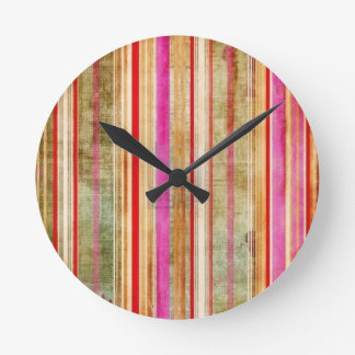Colorful Striped Pattern Round Clock