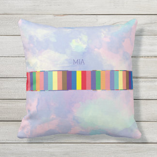 colorful stripes, abstract & geometric, custom throw pillow