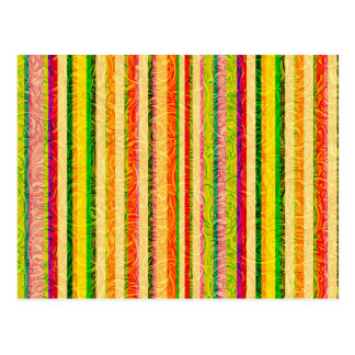 Colorful Stripes and Curl Pattern Postcard