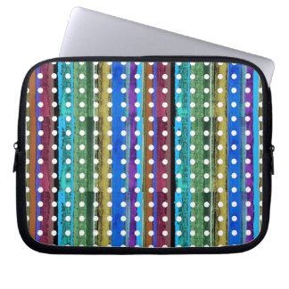 colorful stripes and white polkadots laptop sleeve