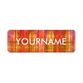 Colorful Stripes Art Pattern Name Label Return Address Label