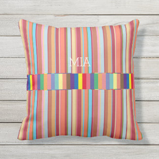 colorful stripes, cool & geometric, custom outdoor pillow