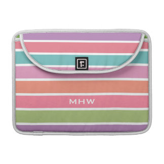 Colorful Stripes custom monogram MacBook sleeves