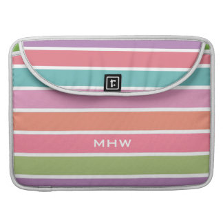 Colorful Stripes custom monogram MacBook sleeves MacBook Pro Sleeve