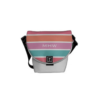 Colorful Stripes custom monogram messenger bags