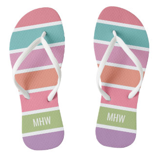 Colorful Stripes custom monogram sandals Flip Flops