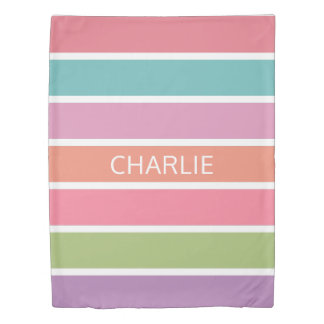 Colorful Stripes custom name duvet covers