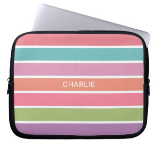 Colorful Stripes custom name laptop sleeves