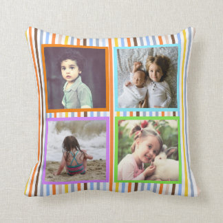 Colorful stripes custom photo x5 throw pillow