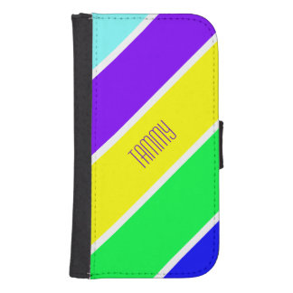 Colorful Stripes Custom Samsung S4 Wallet Case Phone Wallet Cases