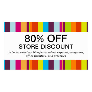 Colorful Stripes (discount card) Pack Of Standard Business Cards