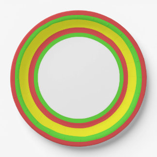Colorful Stripes in RGY III 9 Inch Paper Plate