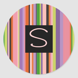 Colorful Stripes Letter S Classic Round Sticker