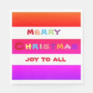 Colorful stripes MERRY CHRISTMAS Luncheon napkins Disposable Napkins