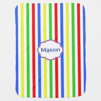 Colorful Stripes Monogram Receiving Blanket