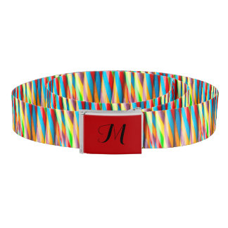 Colorful Stripes Pattern Monogram Belt