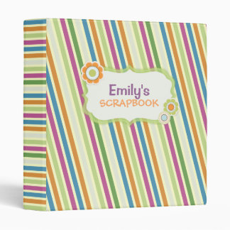 Colorful Stripes Personalized Collage Scrapbook Vinyl Binder