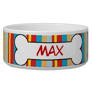 Colorful Stripes Personalized Dog Bowl Food Dish