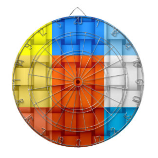 Colorful stripes wicker art graphic design dartboard with darts